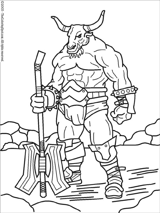 mythical creatures coloring pages to print | Minotaur 1 | Audio Stories for Kids & Free Coloring Pages ...