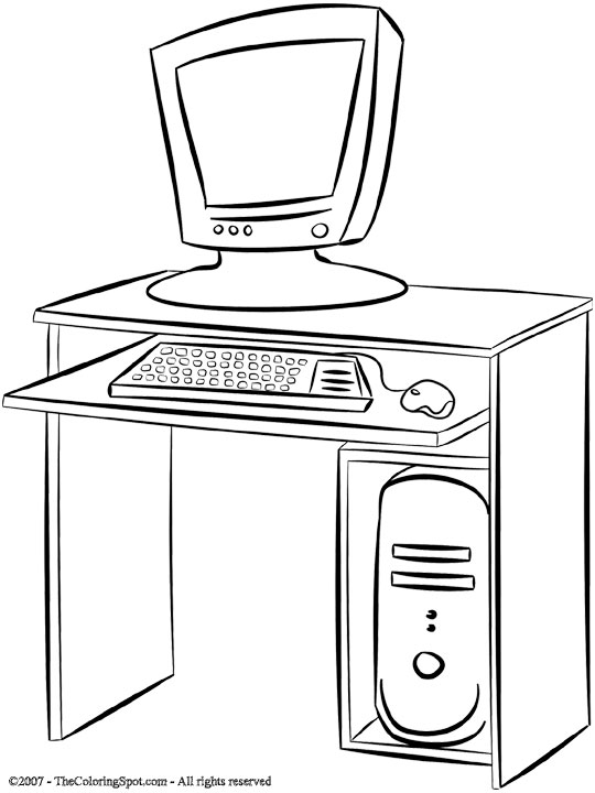 Desk coloring pages ~ Computer Desk | Audio Stories for Kids & Free Coloring ...