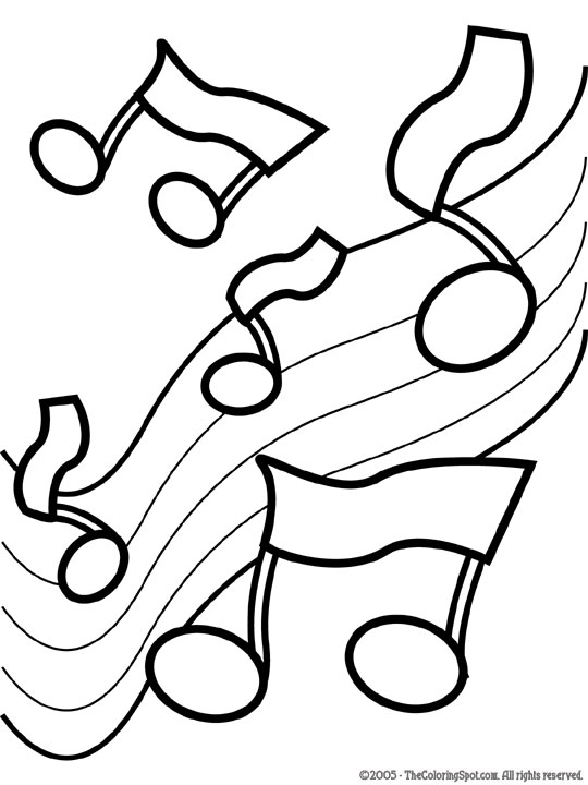 coloring page of music notes