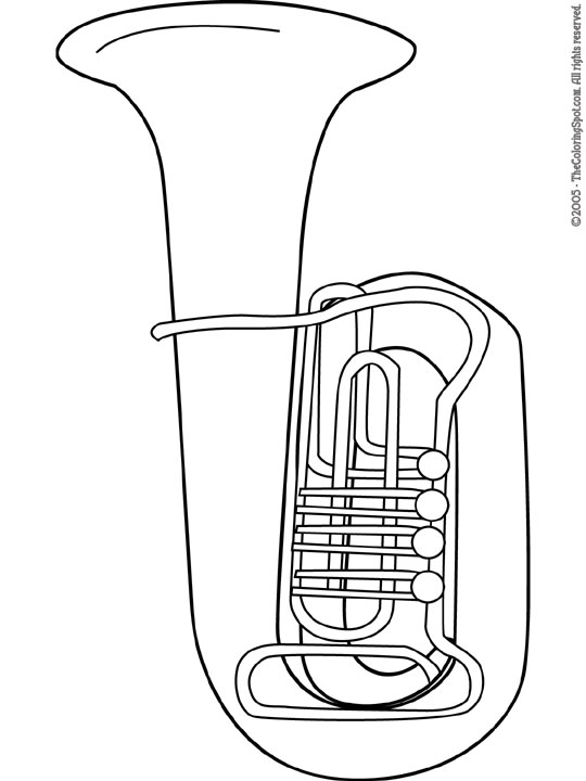 Tuba coloring pages ~ Tuba Coloring Page   Audio Stories for Kids   Free ...