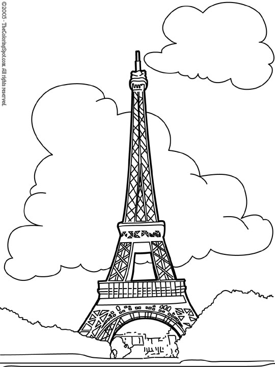 Eiffel tower coloring printable page for kids: Coloring pages of ... | 720x540