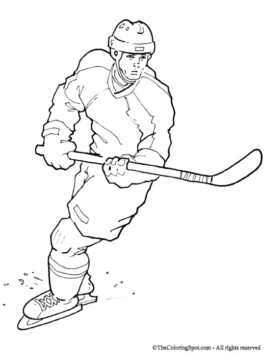 Hockey player coloring page audio stories for kids - Dessin hockey ...