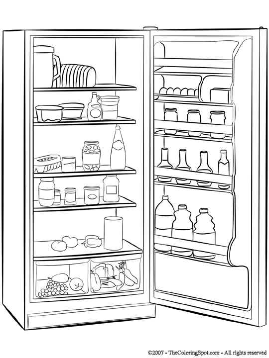 Refrigerator Coloring Page | Audio Stories for Kids | Free ...