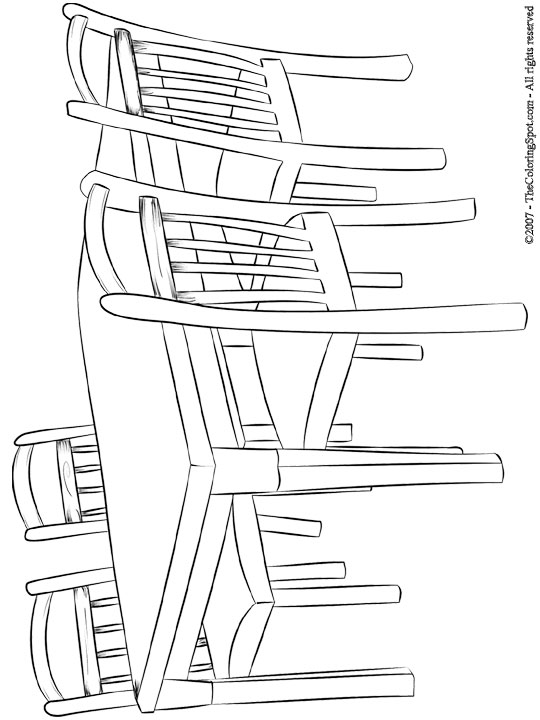 Table & Chairs Coloring Page | Audio Stories for Kids | Free ...