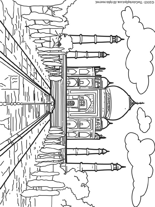 Taj Mahal Coloring Page Audio Stories For Kids Free Coloring